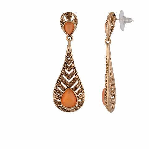 Gold colour Drop shaped shape Stone Studded Earring