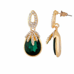 Green colour Drop shaped shape Stone Studded Earring