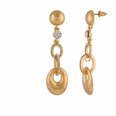 Gold colour oval shape smart carving Earring