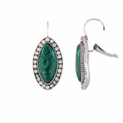 Silver colour Oval shape Stone Studded Earring
