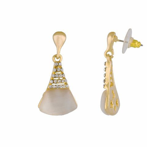 Gold colour Cone shape Stone Studded Earring