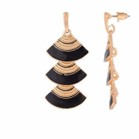 Black colour Triangle shape Enamel Earring