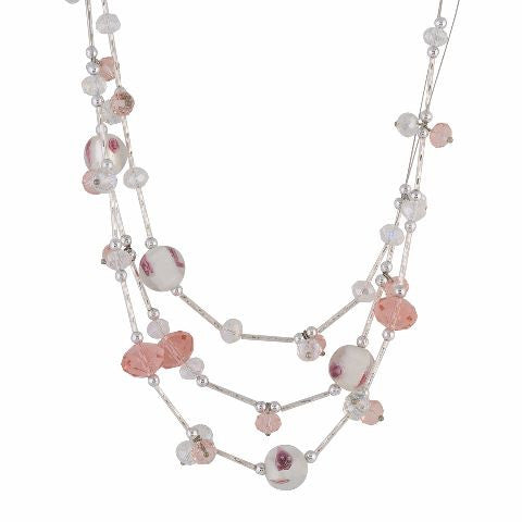 White and Pink colour Western design Necklace Set