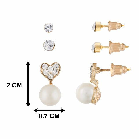 Gold colour Heart with Pearl Drop shape Stones Studded Earring