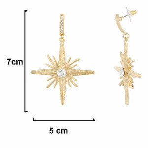 Gold colour Star shape Stone Studded Earring