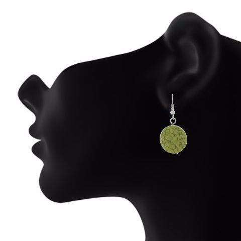 Green colour Round shape Smartly Crafted Earring