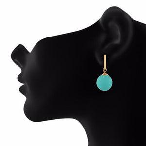 Turquoise colour Hanging Sphere shape Smartly Crafted Earring