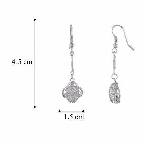 Silver colour Floral shape Stone Studded Earring