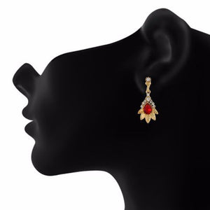 Red and Gold colour Floral shape Stone Studded Earring