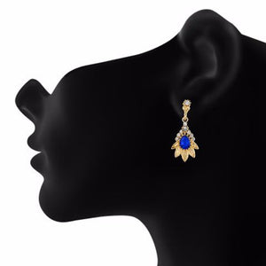 Blue and Gold colour Floral shape Stone Studded Earring