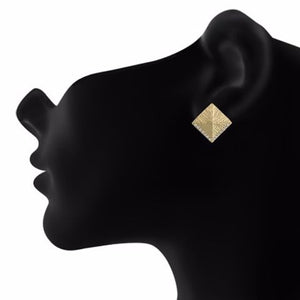 Gold colour Rhombus shape Stone Studded Earring
