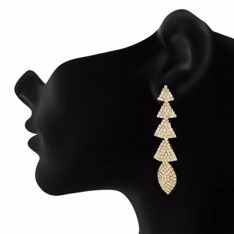 Gold colour Formless shape Stone Studded Earring