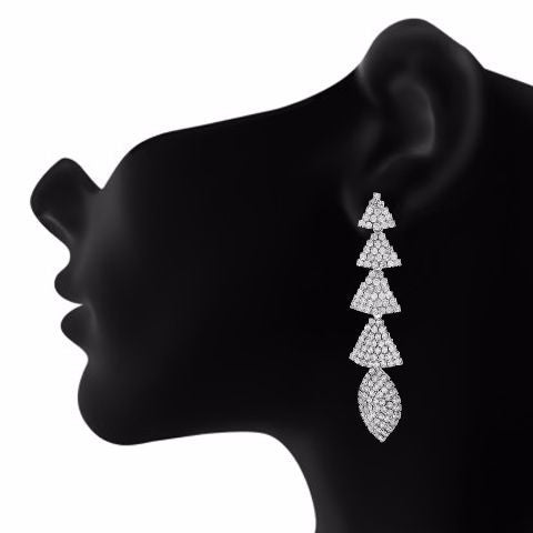 Silver colour Formless shape Stone Studded Earring