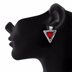 Red and Oxide Silver colour Triangle shape Stone Studded Earring