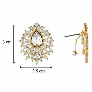 Gold colour Drop shape Stone Studded Earring