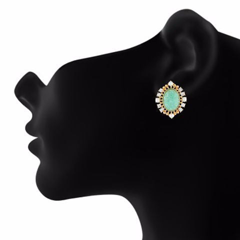 Green and Gold colour oval shape Stone Studded Earring