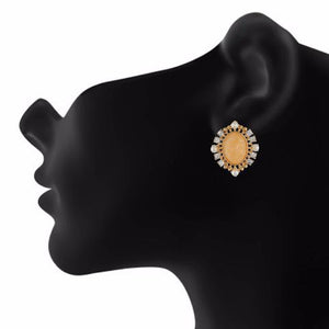 Beige and Gold colour oval shape Stone Studded Earring