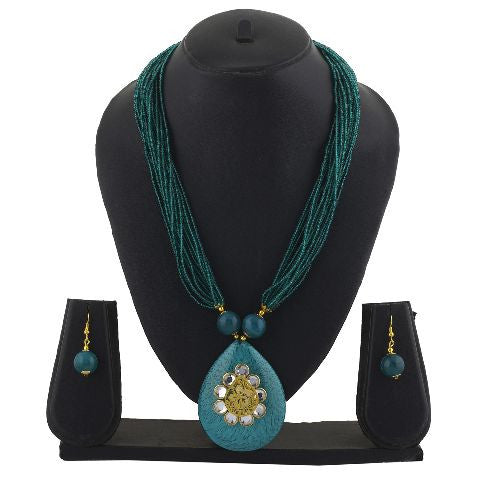 Green colour Indo Western design Necklace Set