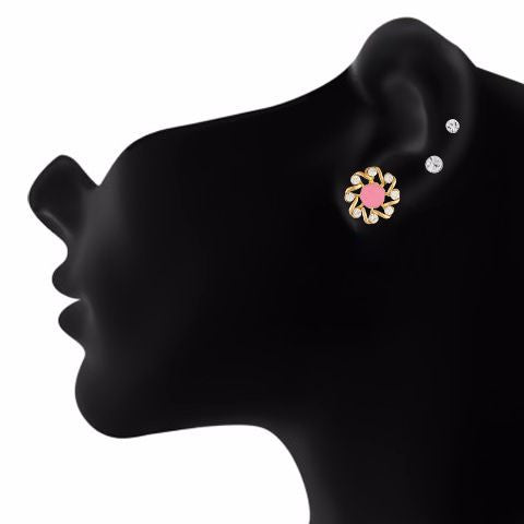 Pink colour Round shape Stone Studded Earring