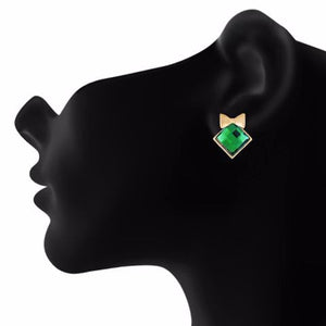 Green colour diamond shape Stone Studded Earring