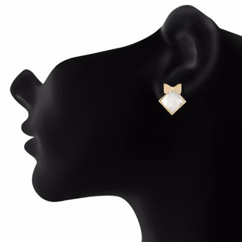 White colour diamond shape Stone Studded Earring