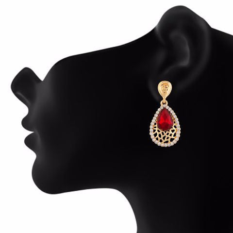 Red colour Drop shaped shape Stone Studded Earring