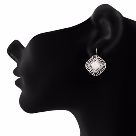 Silver colour Daimond shape Stone Studded Earring