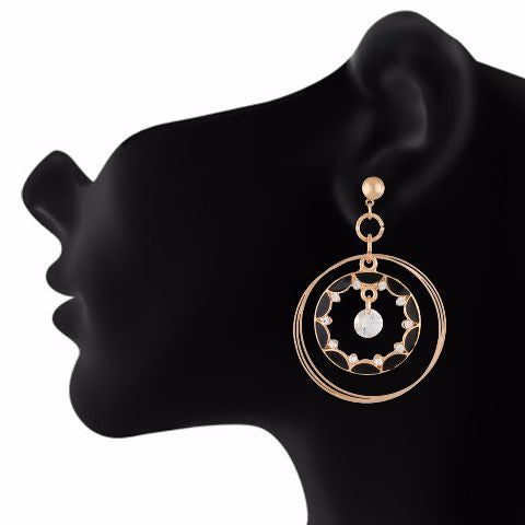 Black colour Round shape Enamel Earring