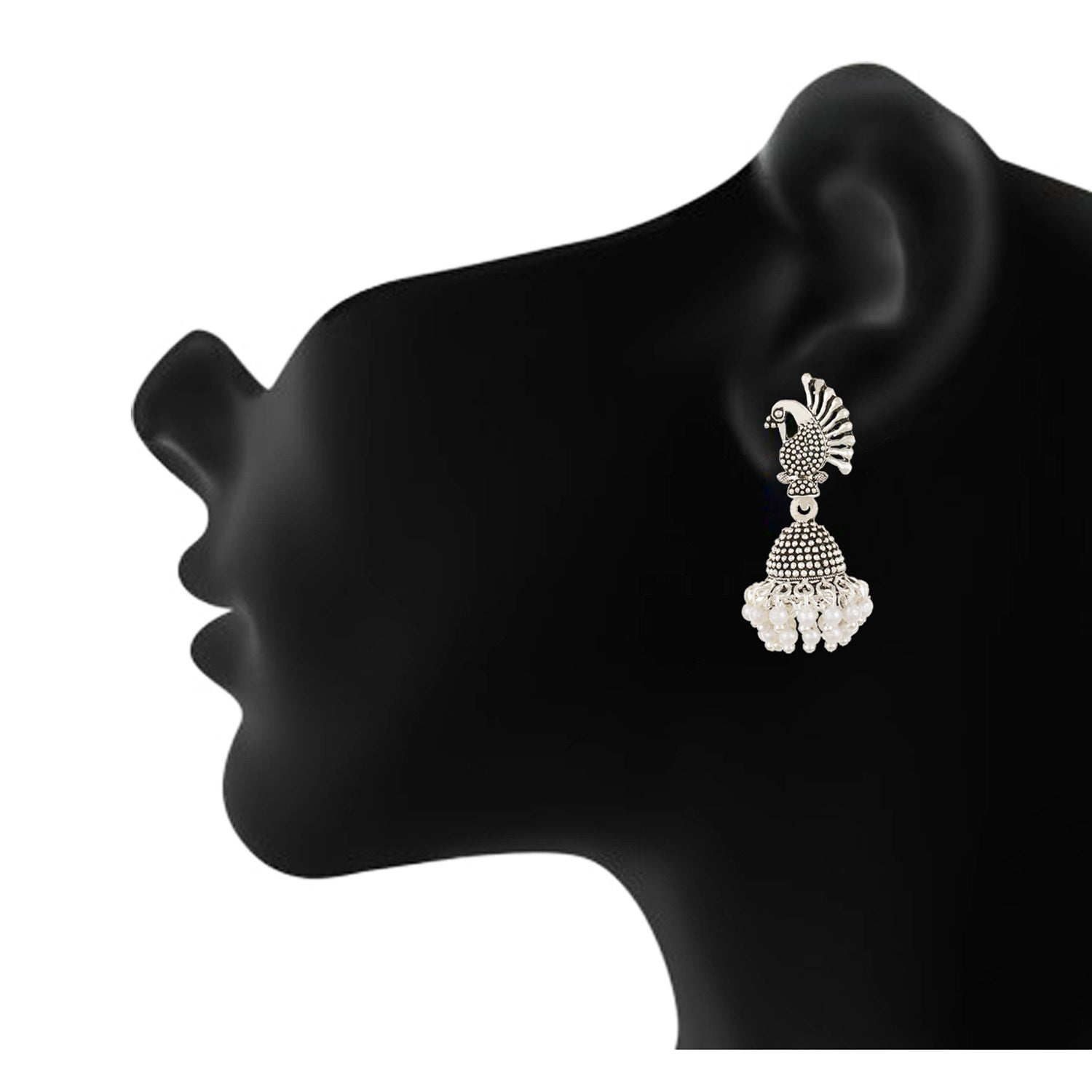Silver plated Pearl Mayur Stud Jhumki Earrings Fashion Imitaion Jewelry for Girls and Women