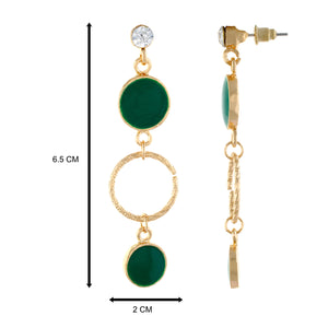 Green colour Round Design Hanging Earrings for Girls and Women