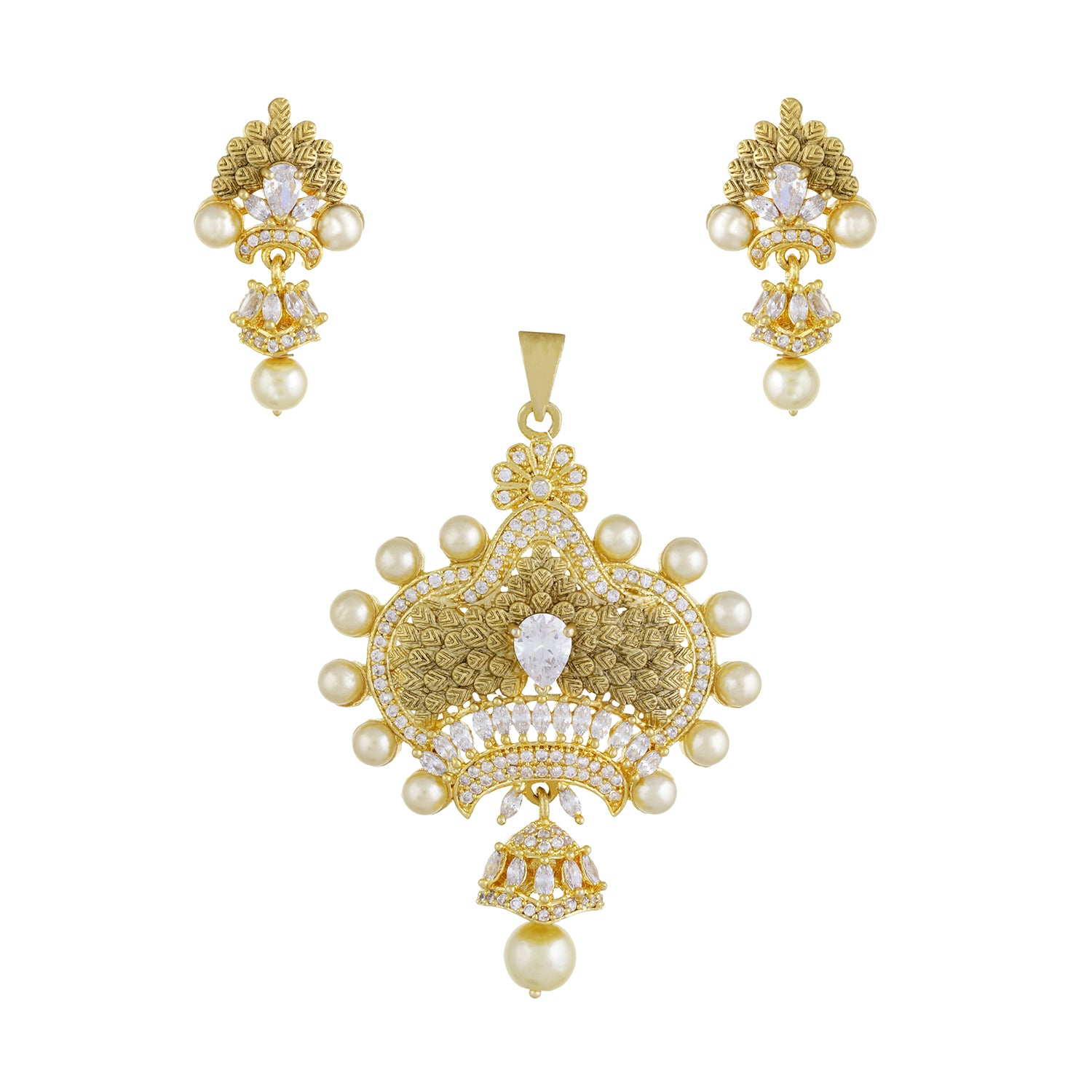 Designer Antique Gold Plated CZ Copper Pendant Set for Ladies and Girls