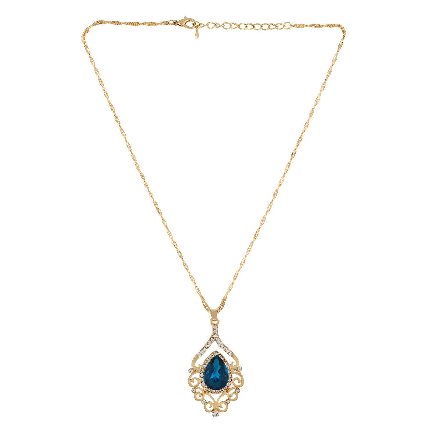 Blue Colour Drop Pendant with Chain, Finger ring and Earrings for Girls and Women