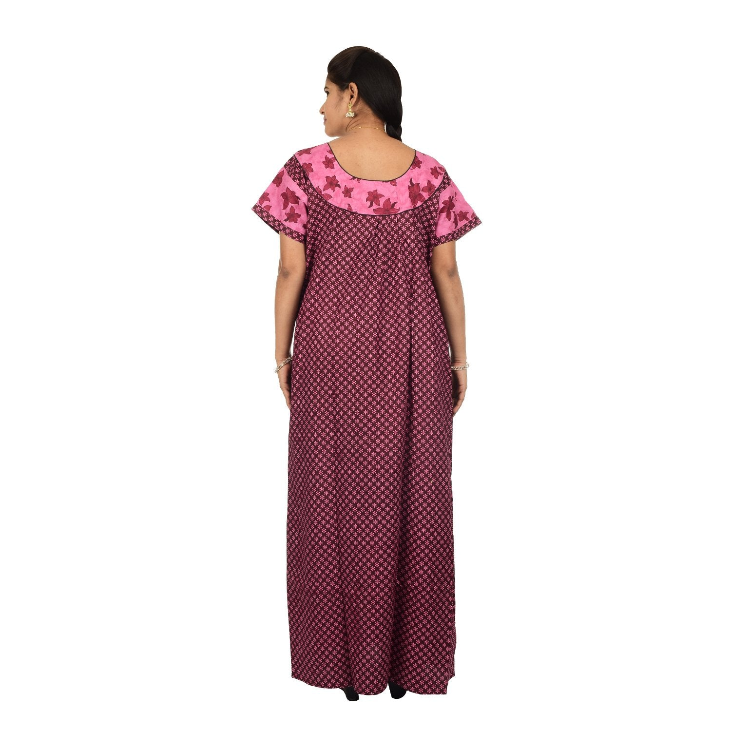 Printed Cotton Nighty For Women - Pink