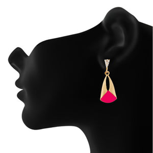 Classy Pink and Gold Colour Drop Shape Earring for Girls and Women