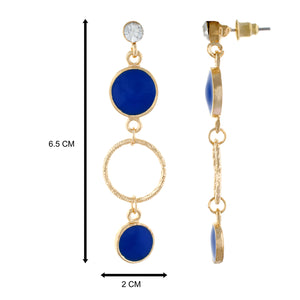 Blue colour Round Design Hanging Earrings for Girls and Women