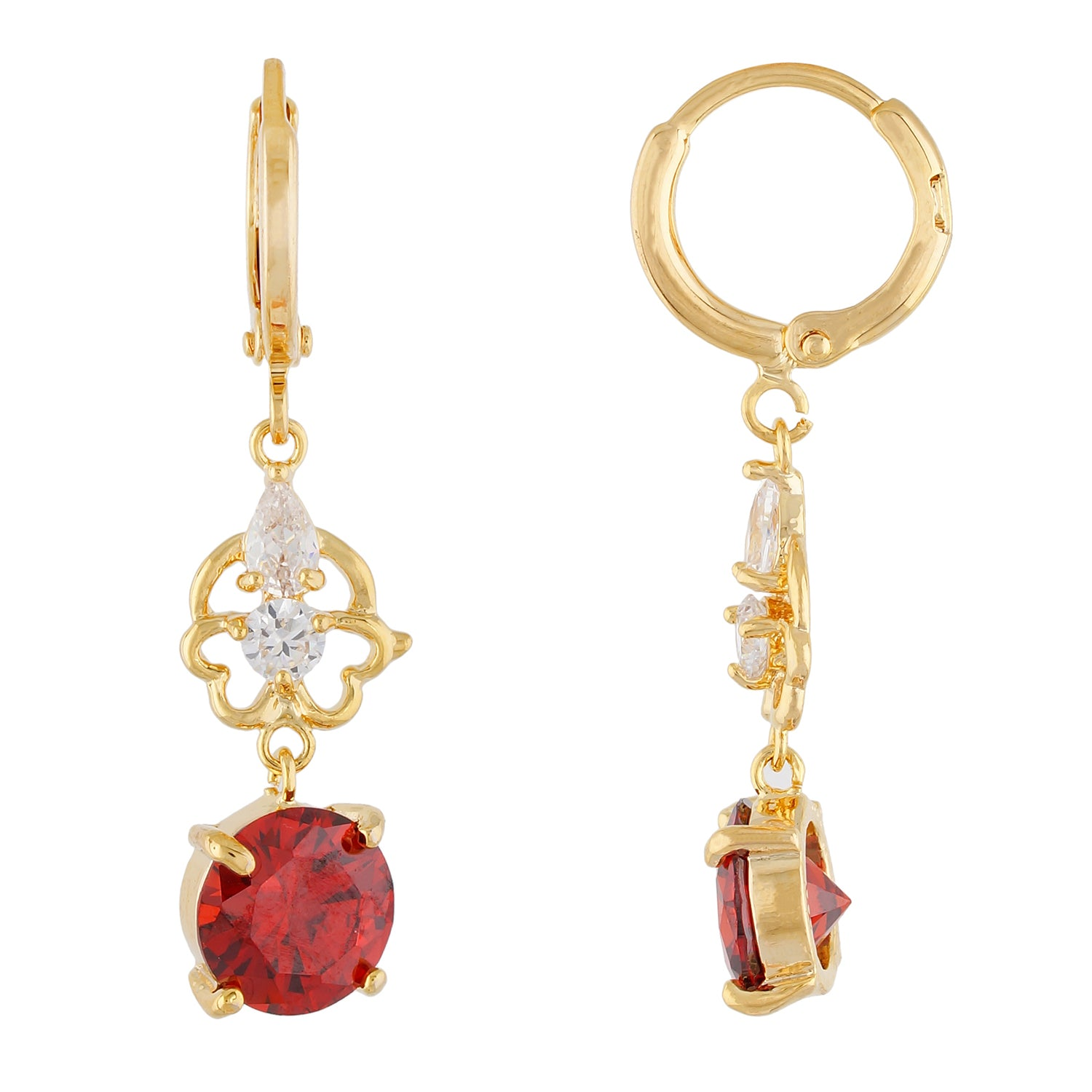Awesome Red and Gold Colour Floral Design Pearl Earring for Girls and Women