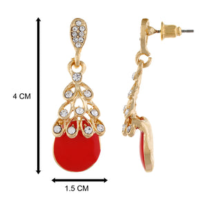 Red colour Drop Design Hanging Earrings for Girls and Women