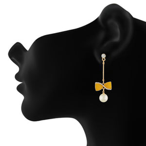 Incredible Yellow and Gold Colour Bow Design Enamel Enhanced Earring for Girls and Women