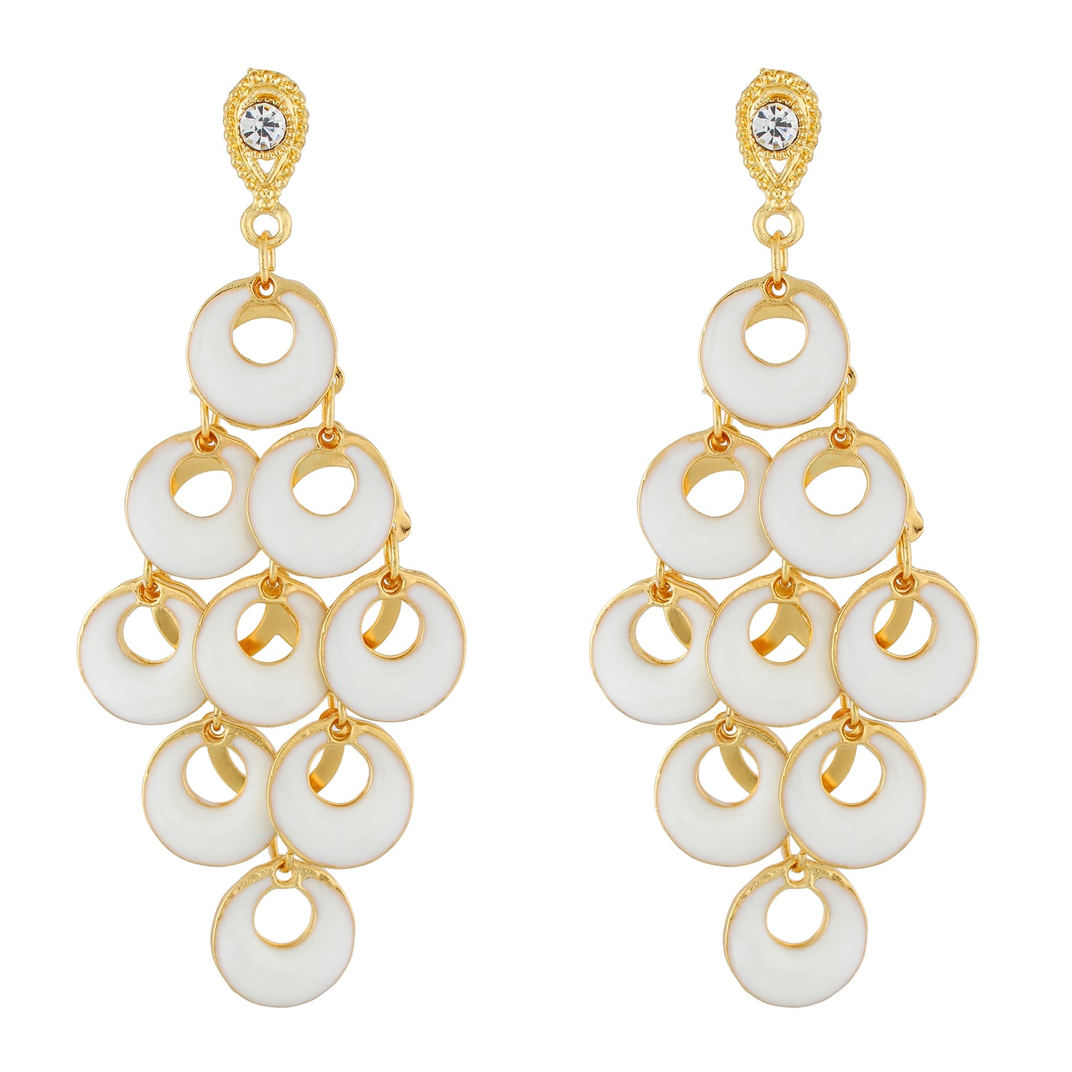 Dashing White and Gold Colour Bunch of Circles Design Earring for Girls and Women
