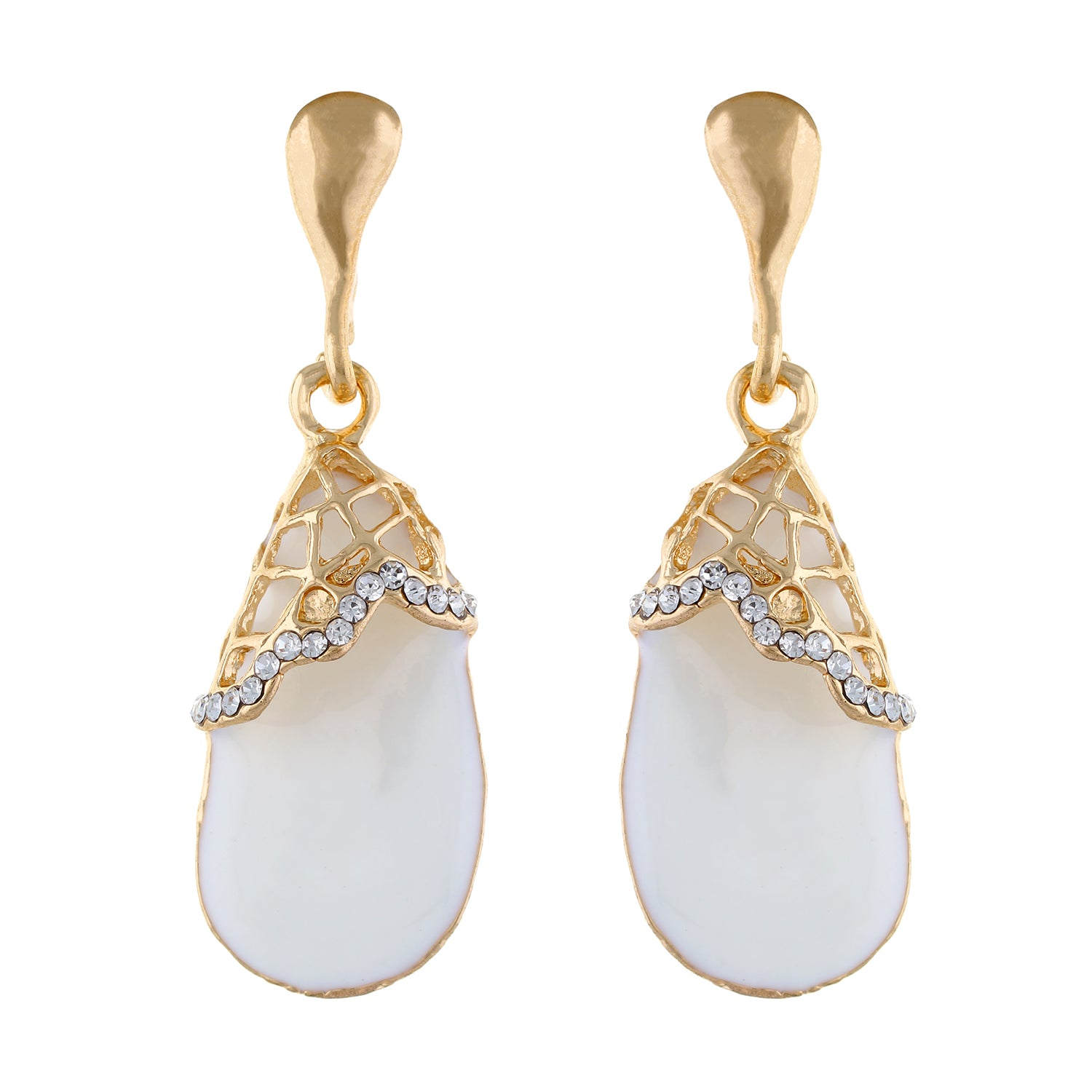 White colour Drop Design Hanging Earrings for Girls and Women