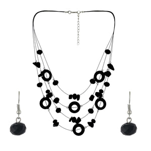 Black Colour Layered Necklace and Earrings for Girls and Women