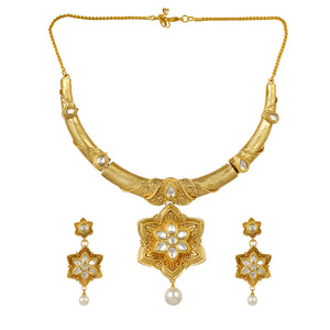 Gold Plated Kundan Necklace and Earrings Imitation Jewelry Set for Women and Girls
