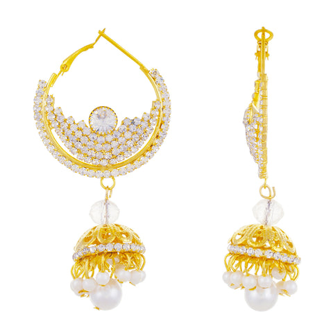 Gold plated Alloy Chandbali Jhumki Earrings Fashion Imitaion Jewelry for Girls and Women