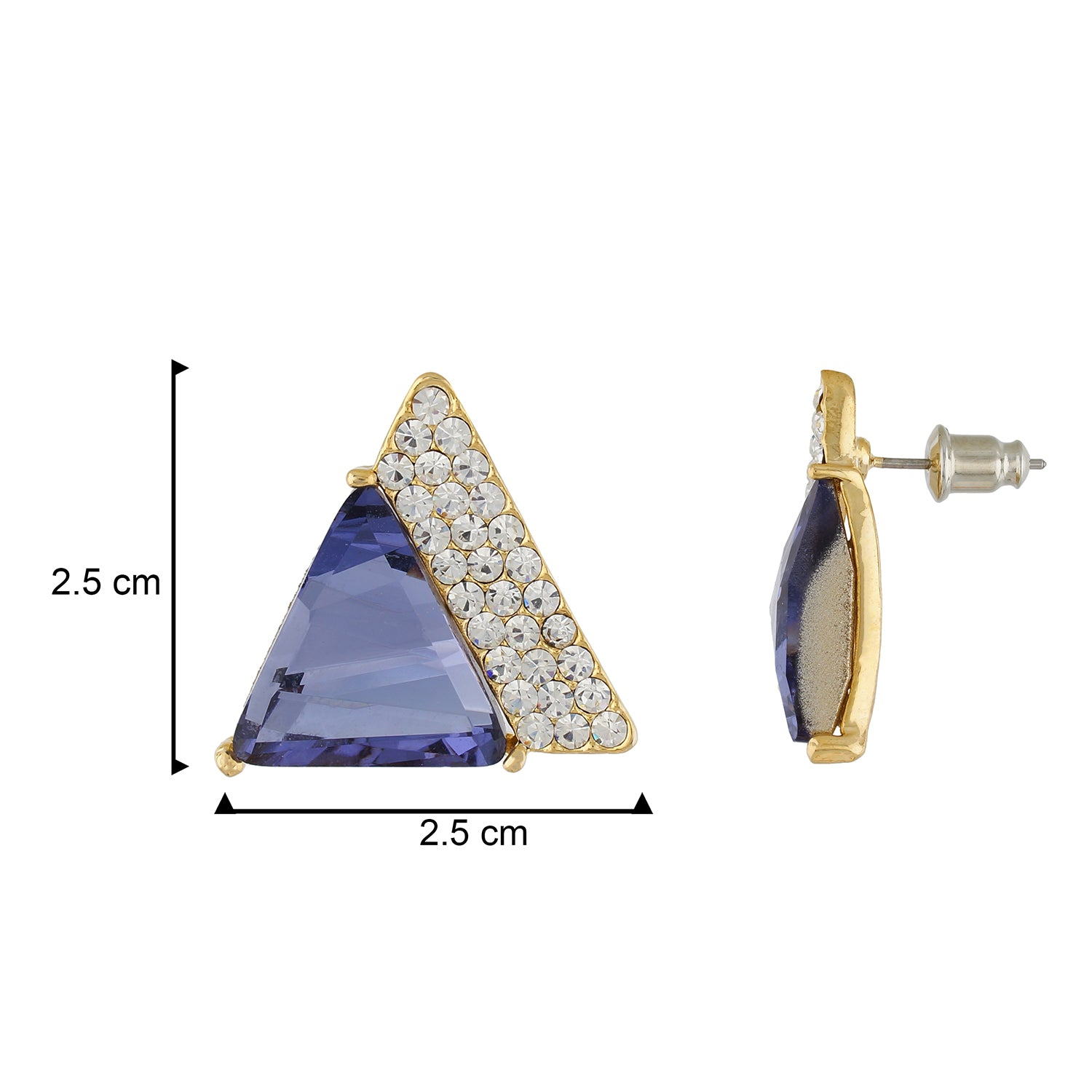 Smart Blue Colour Triangular Shape Ear Stud for Girls and Women