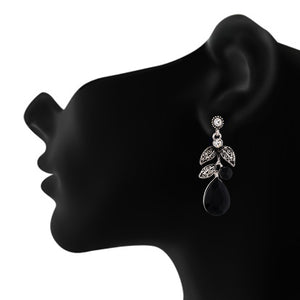 Amazing Black and Oxide Silver Colour Leaves Design Earring for Girls and Women
