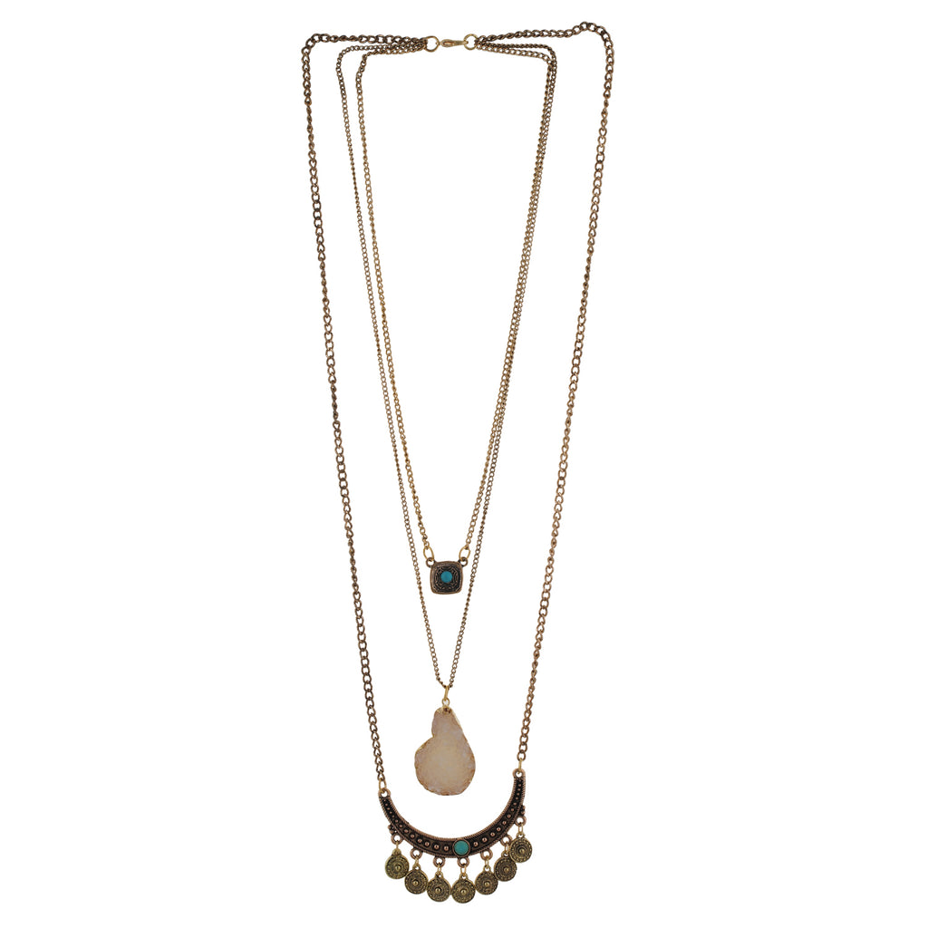 Oxide Gold colour Drop shaped design Necklace for girls and women