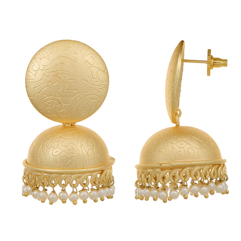 Gold Plated Fashion Designer Earrings Pearl Brass Jhumki for Girls and Women