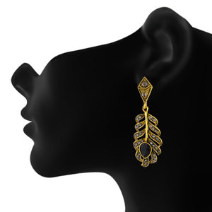 Spectacular Oxide Gold Colour Leaf Shape Earring for Girls and Women