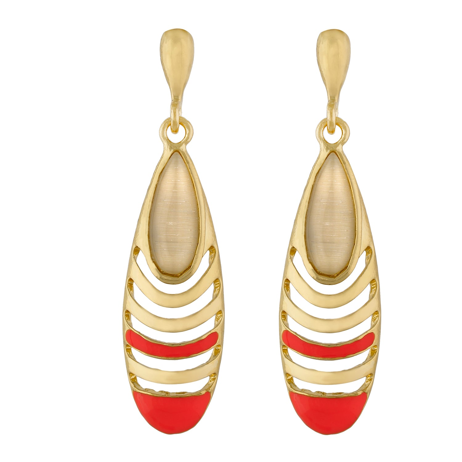 Trendy Pink and Gold Colour Drop Shape Earring for Girls and Women