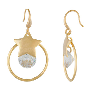 Trendy Gold Colour Star and Round Design Earring for Girls and Women